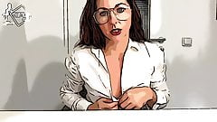 HOT MILF IN THE OFFICE - DILDO FUCK - COMIC STYLE