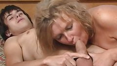 Slut mature wife fucking and sucking cum from son in law