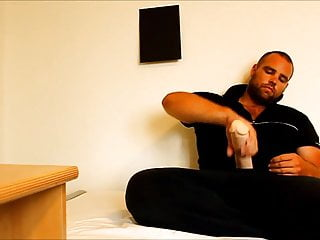 male solo 12 inch cock dildo on the bed