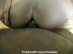 Brown asshole takes a big black cock inside