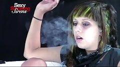 Smoking Fetish - Brunette Punk Rocker Smoking a Cigarette