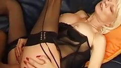 Blonde granny MILF with pussy pierced and rings in stockings