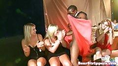 CFNM babes cocksucking stripper in club