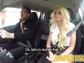 Fake Driving School Horny car fuck with busty blonde MILF