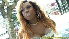 Black bigdick tgirl drops huge milky load solo