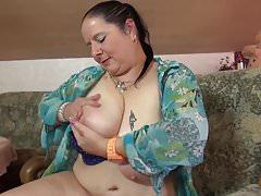 Mature BBW mom massaging her big tits and vagina
