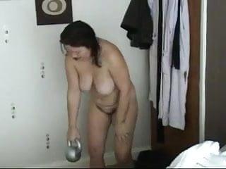 Women doing exercise naked - Mandy naked kettlebell exercises