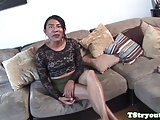 Casting ladyboy interviewed before sucking