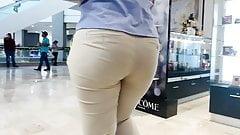 Mature Booty Walking . Coffee Pants VPL