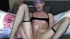 Hot emogothic femboy jerks his penis on cam