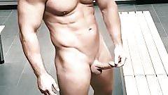 Locker room tease. Hard cock muscle jock shows off
