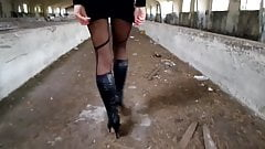 Walk through an abandoned farm, heels, tights and mini skirt