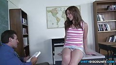 Teen babe facialized by her teacher
