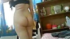 Saudi horny BBW masturbating in front of camera