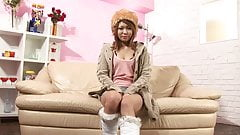Japanese beauty masturbates with toys on the sofa
