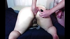 My amateur ass plugged and pussy fucked through creampie
