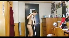 Topless Dorm Cleaning