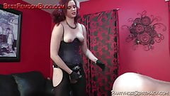 Mistress Savannah strapon and torture of male slave