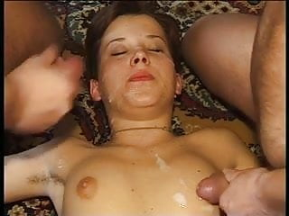 Gangbang cumshots over shy and inexperienced girls