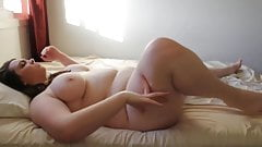 Chubby Brunette belly play and masturbating to cum.