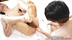 Japanese twink gets his sweet ass rimmed and banged