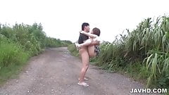 Mao Mizusawa fucked by two males in outdoor