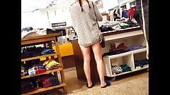 Candid voyeur beautiful thick girl shopping pigtails
