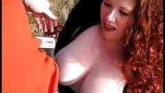 Big Tit Redhead Jennifer Outdoor Blowjob