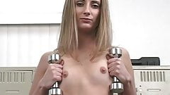 Blond with small tits is taking big dildo in her cunt