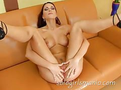 Hot Czech Brunette Teen Stretching Pussy with Big Dildo
