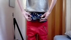 Sagging in blue snoopy pirat shiny satin boxers