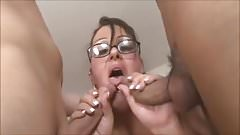 naughty bbw fucks two dicks in DP