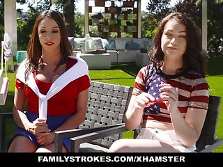 FamilyStrokes - Sexy Milf Joins Step-Son & Daughter In Three