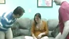 Petite lady finally agrees for dirty amateur FMM threesome