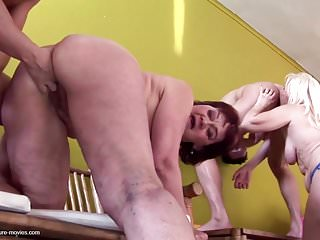 Private party with hairy granny and pissing