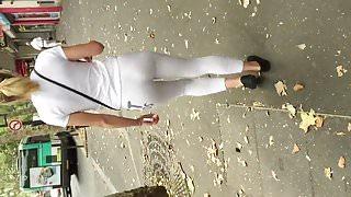 skin tight white spandex vtl booty