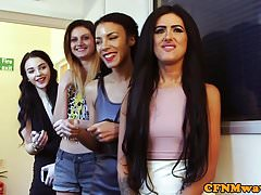 Gorgeous eurobabes enjoy group CFNM scene