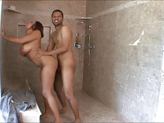 Voluptious Black Babe With Huge Natural Tits Shower Fuck