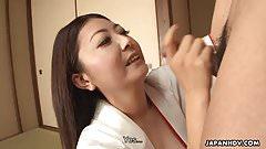 Asian milf sucking his cum off for a mouth slurp