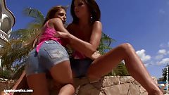 Very beautiful Kissy and Nevena have outdoors fun on Sapphic
