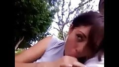 Girlfriend Gives Blowjob And Swallows In The Park