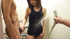 Haruki Morikawa is showered over bath suit