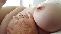 feeling her hard ripe nipple & soft belly