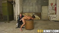 Restrained sub gets slapped and roughly fucked by master
