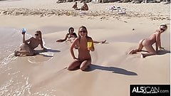 Six Horny Lesbians Go At It On A Public Beach