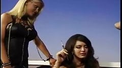 three hot lesbians in leather get down