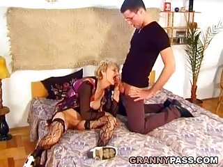 Preview 3 of Hairy Granny Gets Pounded Hard By A Young Dick