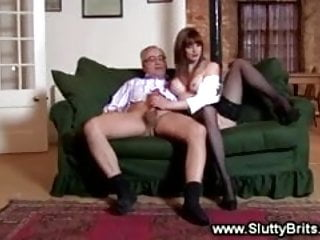 Sexy babe gets her pussy fucked by old guy