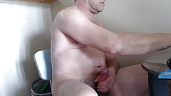 Huge hung muscle dad jerks and cums