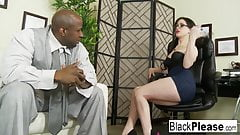 She receives an interracial creampie